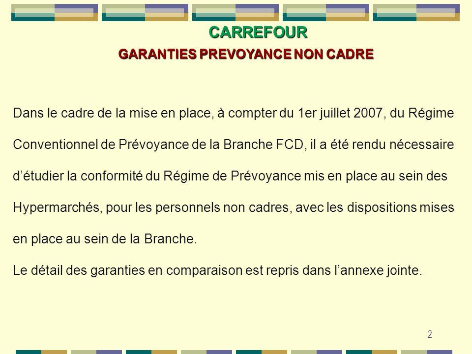 2 CARREFOUR GARANTIES PREVOYANCE NON CADRE Dans le cadre de la mise en place, à compter du 1er juillet 2007, du Régime Conventionnel de Prévoyance de
