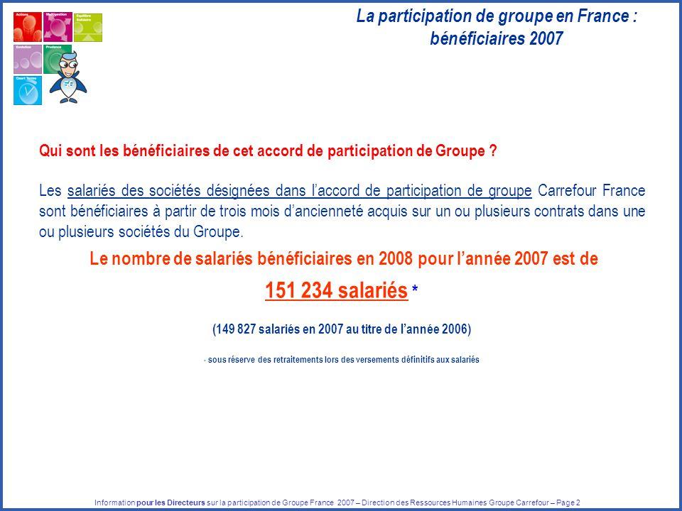 Information pour les Directeurs sur la participation de Groupe France 2007 – Direction des Ressources Humaines Groupe Carrefour – Page 2 Qui sont les bénéficiaires de cet accord de participation de Groupe .