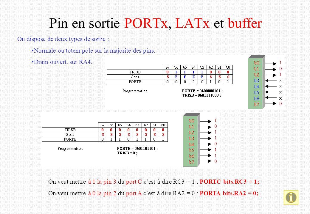 Lecture d'une entrée Lecture d'un port entièrement en entrée : entree = PORTB; ; lecture du port B -> entree Test d'un bit d'un port : if (PORTBbits.RB0) ; test si RB0 = 1 { … } ; RB0 = 1 else { … }; RB0 = 0 Lecture d'une sortie Lecture d'un port en sortie : ( niveau électrique réel ) entree = PORTB; ; lecture du port B -> entree Lecture du latch : ( valeur mémorisée ) entree = LATB; ; lecture du latch du port B -> entree