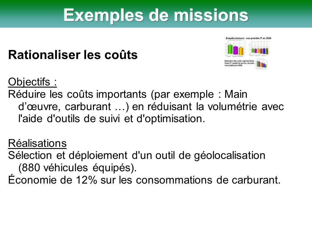 Rationaliser les coûts Objectifs : Réduire les coûts importants (par exemple : Main d'œuvre, carburant …) en réduisant la volumétrie avec l aide d outils de suivi et d optimisation.