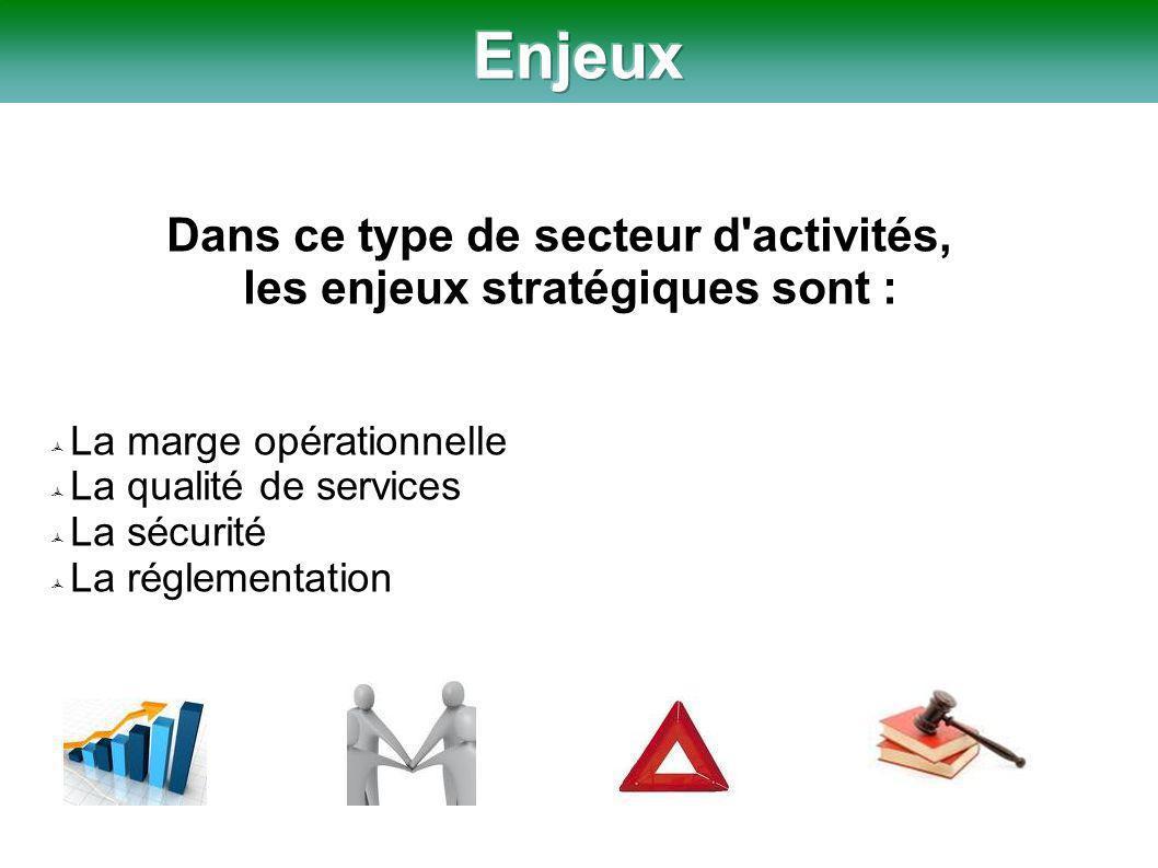 Dans ce type de secteur d activités, les enjeux stratégiques sont :  La marge opérationnelle  La qualité de services  La sécurité  La réglementation