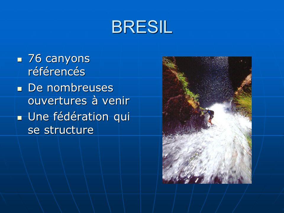 BRESIL 76 canyons référencés 76 canyons référencés De nombreuses ouvertures à venir De nombreuses ouvertures à venir Une fédération qui se structure Une fédération qui se structure