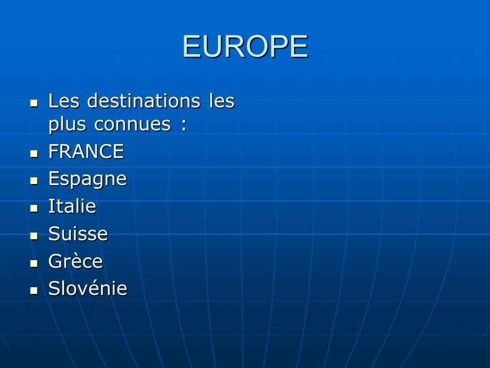 EUROPE Les destinations les plus connues : Les destinations les plus connues : FRANCE FRANCE Espagne Espagne Italie Italie Suisse Suisse Grèce Grèce Slovénie Slovénie