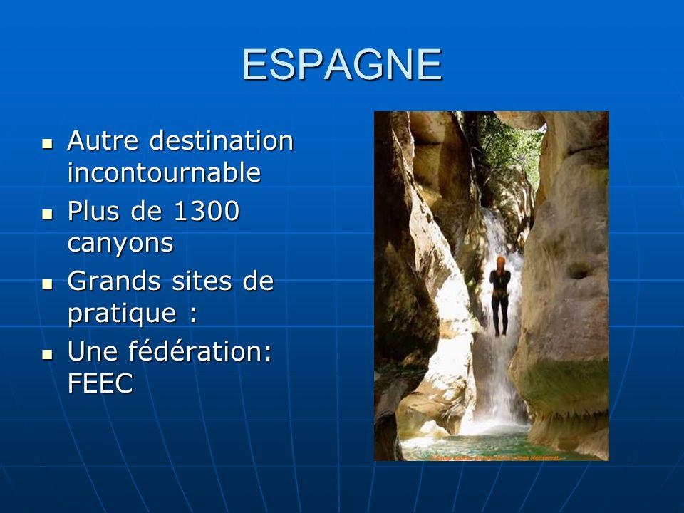 ESPAGNE Autre destination incontournable Autre destination incontournable Plus de 1300 canyons Plus de 1300 canyons Grands sites de pratique : Grands