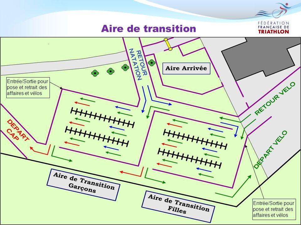 Aire de transition Entrée/Sortie pour pose et retrait des affaires et vélos