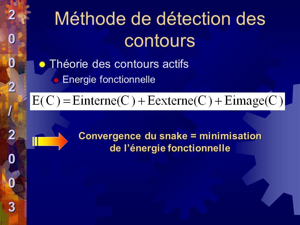 Méthode de détection des contours  Théorie des contours actifs  Energie fonctionnelle Convergence du snake = minimisation de l'énergie fonctionnelle