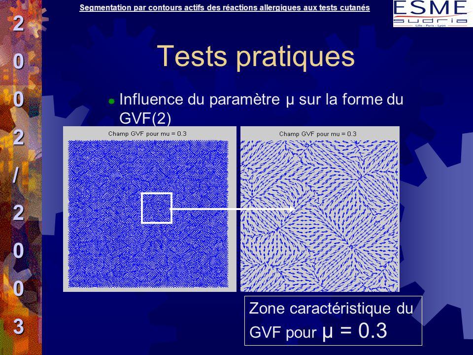 Tests pratiques  Influence du paramètre μ sur la forme du GVF(2) Zone caractéristique du GVF pour μ = 0.3 2002/2003 Segmentation par contours actifs