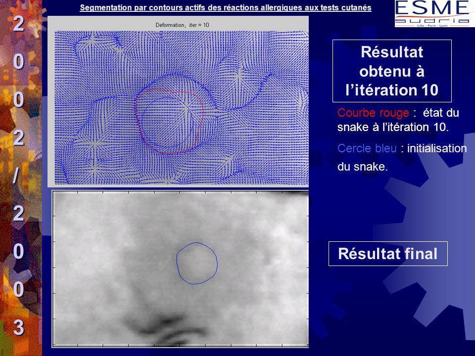 Résultat final Résultat obtenu à l'itération 10 Courbe rouge : état du snake à l'itération 10. Cercle bleu : initialisation du snake. 2002/2003 Segmen