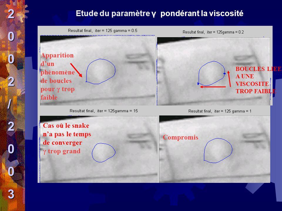Etude du paramètre γ pondérant la viscosité Apparition d'un phénomène de boucles pour γ trop faible BOUCLES LIEES A UNE VISCOSITE TROP FAIBLE Cas où l