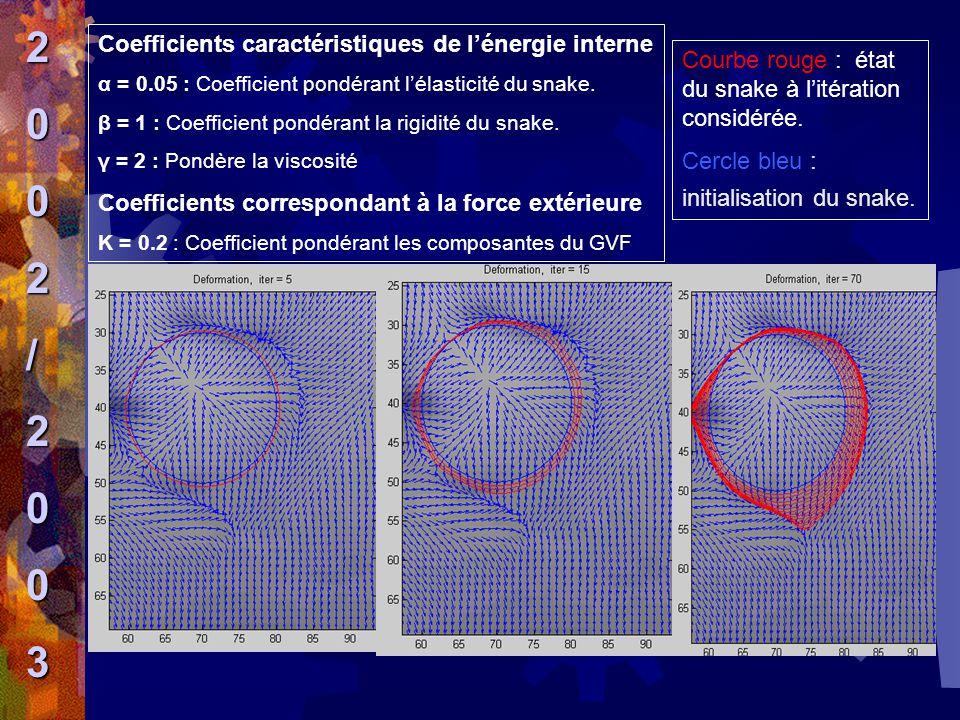 Coefficients caractéristiques de l'énergie interne α = 0.05 : Coefficient pondérant l'élasticité du snake. β = 1 : Coefficient pondérant la rigidité d