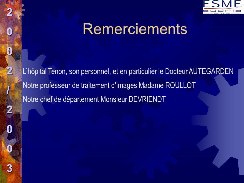 Remerciements L'hôpital Tenon, son personnel, et en particulier le Docteur AUTEGARDEN Notre professeur de traitement d'images Madame ROULLOT Notre che