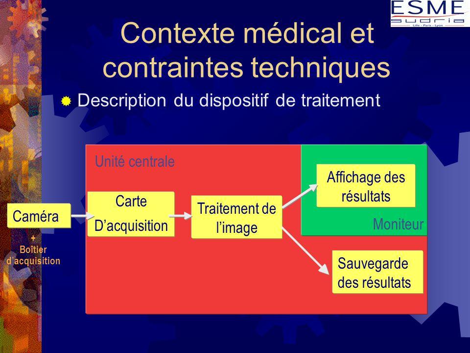 Unité centrale Contexte médical et contraintes techniques  Description du dispositif de traitement Carte D'acquisition Traitement de l'image Sauvegar