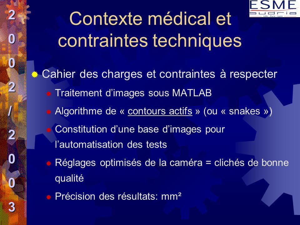  Cahier des charges et contraintes à respecter  Traitement d'images sous MATLAB  Algorithme de « contours actifs » (ou « snakes »)  Constitution d