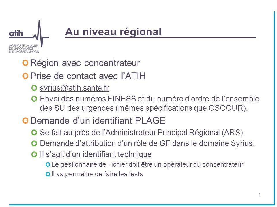 Au niveau régional Région avec concentrateur Prise de contact avec l'ATIH syrius@atih.sante.fr Envoi des numéros FINESS et du numéro d'ordre de l'ense