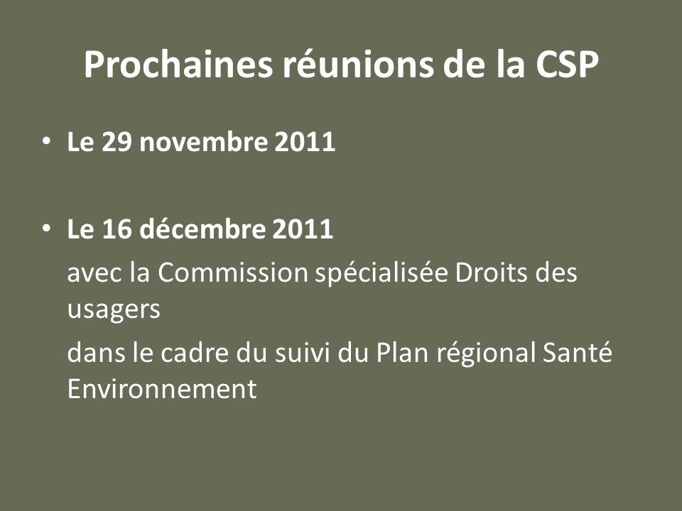 Prochaines réunions de la CSP Le 29 novembre 2011 Le 16 décembre 2011 avec la Commission spécialisée Droits des usagers dans le cadre du suivi du Plan régional Santé Environnement