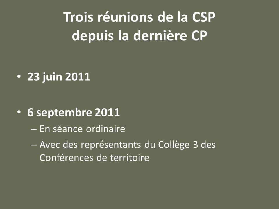 Trois réunions de la CSP depuis la dernière CP 23 juin 2011 6 septembre 2011 – En séance ordinaire – Avec des représentants du Collège 3 des Conférences de territoire