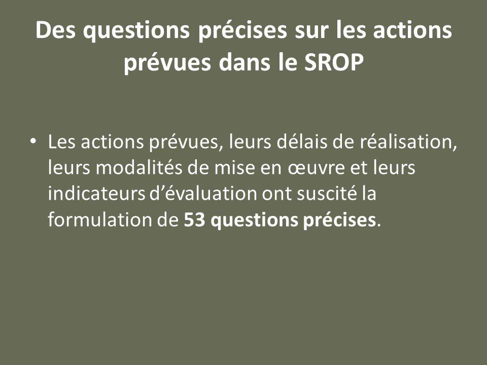 Des questions précises sur les actions prévues dans le SROP Les actions prévues, leurs délais de réalisation, leurs modalités de mise en œuvre et leurs indicateurs d'évaluation ont suscité la formulation de 53 questions précises.