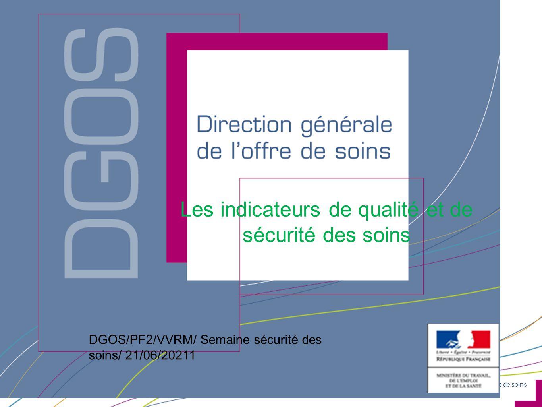 Direction générale de l'offre de soins DGOS/PF2/Semaine sécurité des soins/ VVRM/ 21/06/2011 Les indicateurs de qualité et de sécurité des soins DGOS/