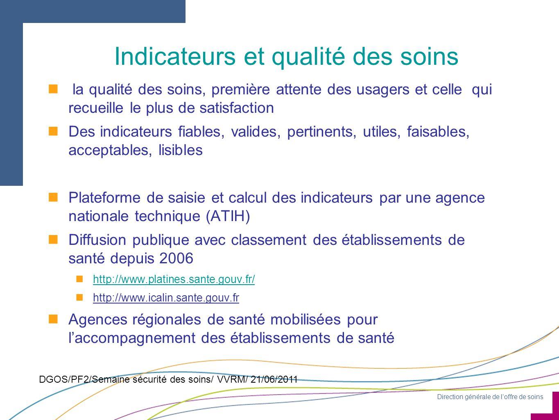 Direction générale de l'offre de soins DGOS/PF2/Semaine sécurité des soins/ VVRM/ 21/06/2011 Indicateurs et qualité des soins n la qualité des soins,