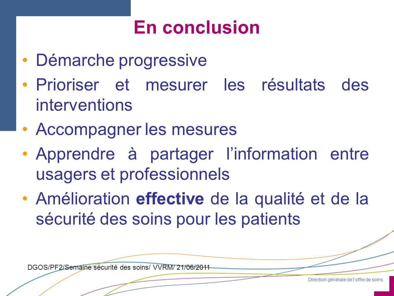 Direction générale de l'offre de soins DGOS/PF2/Semaine sécurité des soins/ VVRM/ 21/06/2011 En conclusion Démarche progressive Prioriser et mesurer l