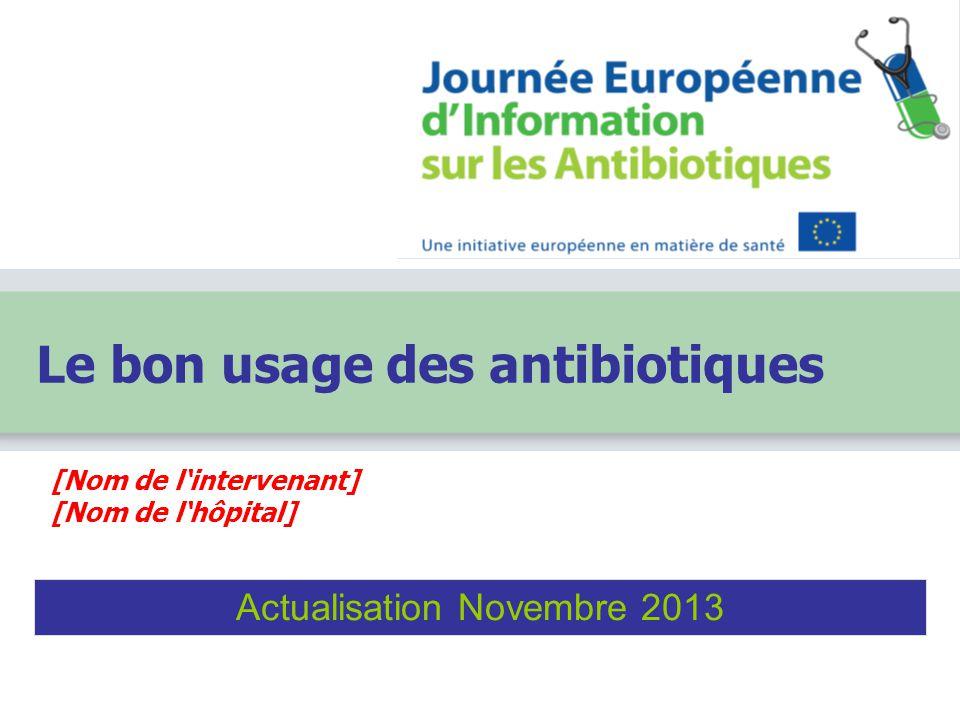 [Nom de l'intervenant] [Nom de l'hôpital] Le bon usage des antibiotiques Actualisation Novembre 2013