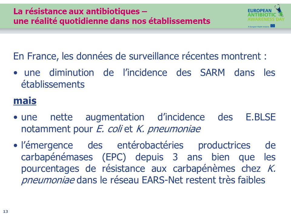 La résistance aux antibiotiques – une réalité quotidienne dans nos établissements En France, les données de surveillance récentes montrent : une diminution de l'incidence des SARM dans les établissements mais une nette augmentation d'incidence des E.BLSE notamment pour E.