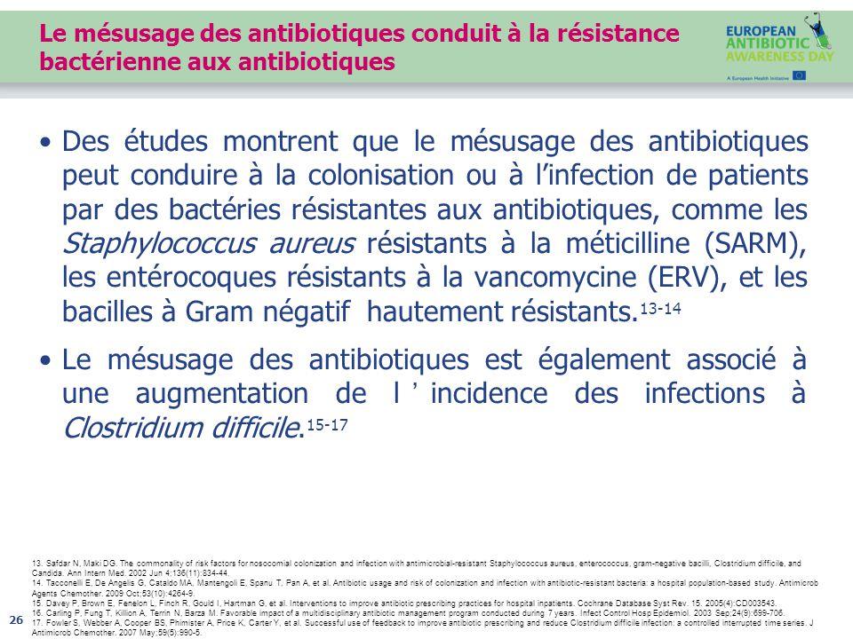 Le mésusage des antibiotiques conduit à la résistance bactérienne aux antibiotiques Des études montrent que le mésusage des antibiotiques peut conduire à la colonisation ou à l'infection de patients par des bactéries résistantes aux antibiotiques, comme les Staphylococcus aureus résistants à la méticilline (SARM), les entérocoques résistants à la vancomycine (ERV), et les bacilles à Gram négatif hautement résistants.