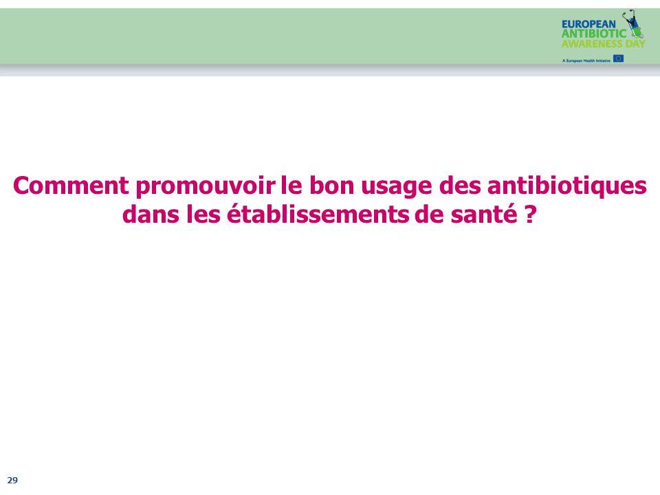 Comment promouvoir le bon usage des antibiotiques dans les établissements de santé ? 29