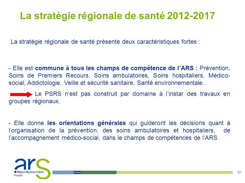 13 La stratégie régionale de santé 2012-2017 La stratégie régionale de santé présente deux caractéristiques fortes : - Elle est commune à tous les cha