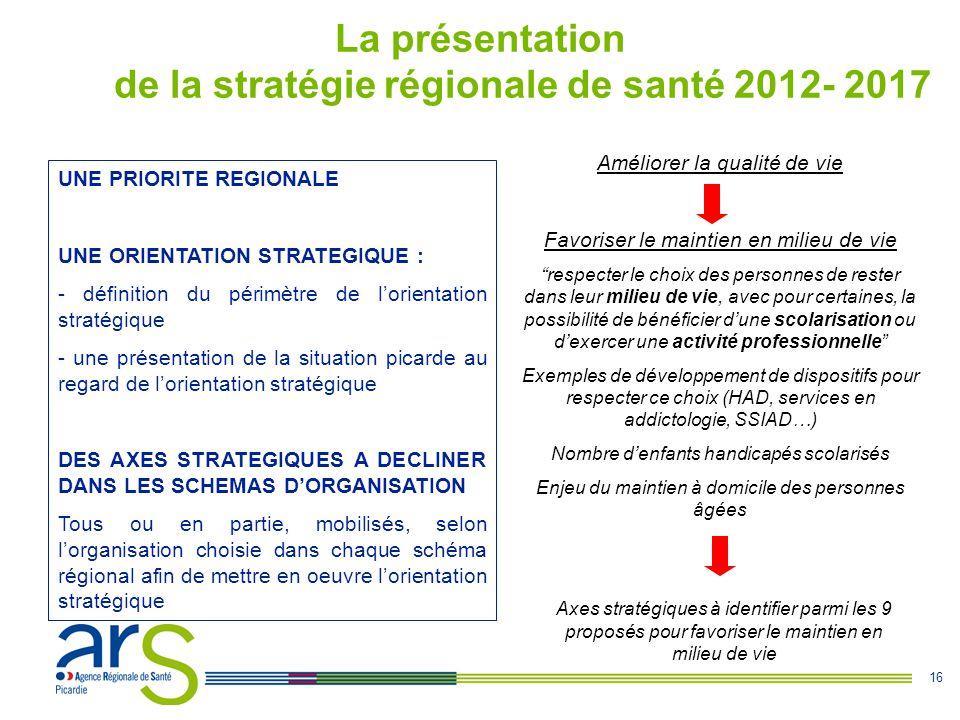 16 La présentation de la stratégie régionale de santé 2012- 2017 UNE PRIORITE REGIONALE UNE ORIENTATION STRATEGIQUE : - définition du périmètre de l'o