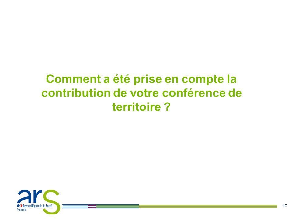 17 Comment a été prise en compte la contribution de votre conférence de territoire ?