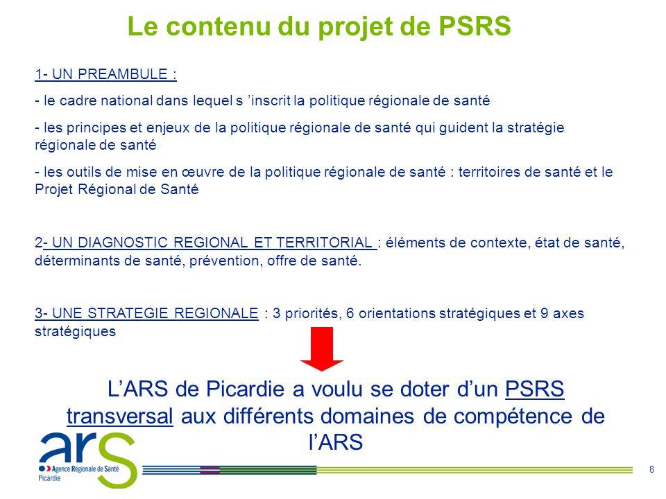 8 Le contenu du projet de PSRS 1- UN PREAMBULE : - le cadre national dans lequel s 'inscrit la politique régionale de santé - les principes et enjeux