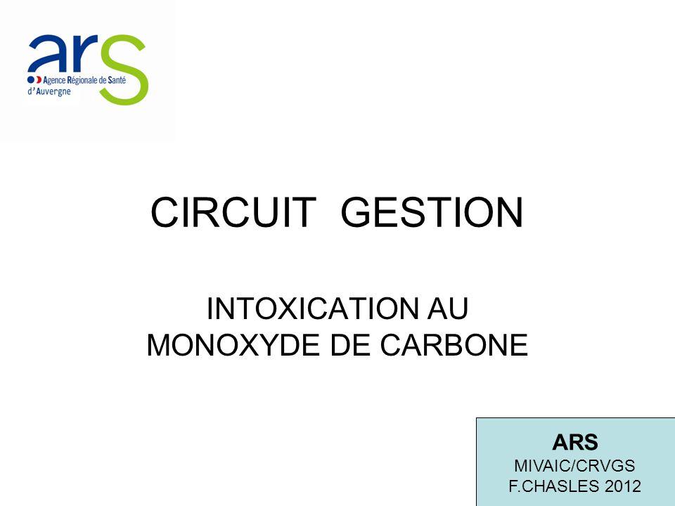 CIRCUIT GESTION INTOXICATION AU MONOXYDE DE CARBONE ARS MIVAIC/CRVGS F.CHASLES 2012