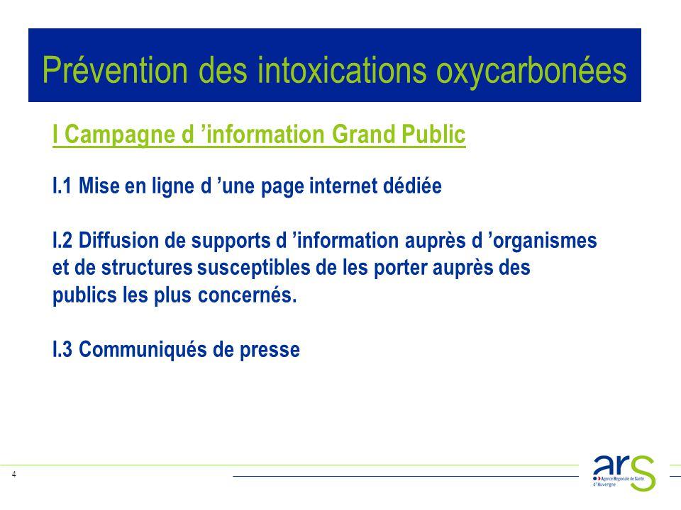 4 I Campagne d 'information Grand Public I.1 Mise en ligne d 'une page internet dédiée I.2 Diffusion de supports d 'information auprès d 'organismes et de structures susceptibles de les porter auprès des publics les plus concernés.
