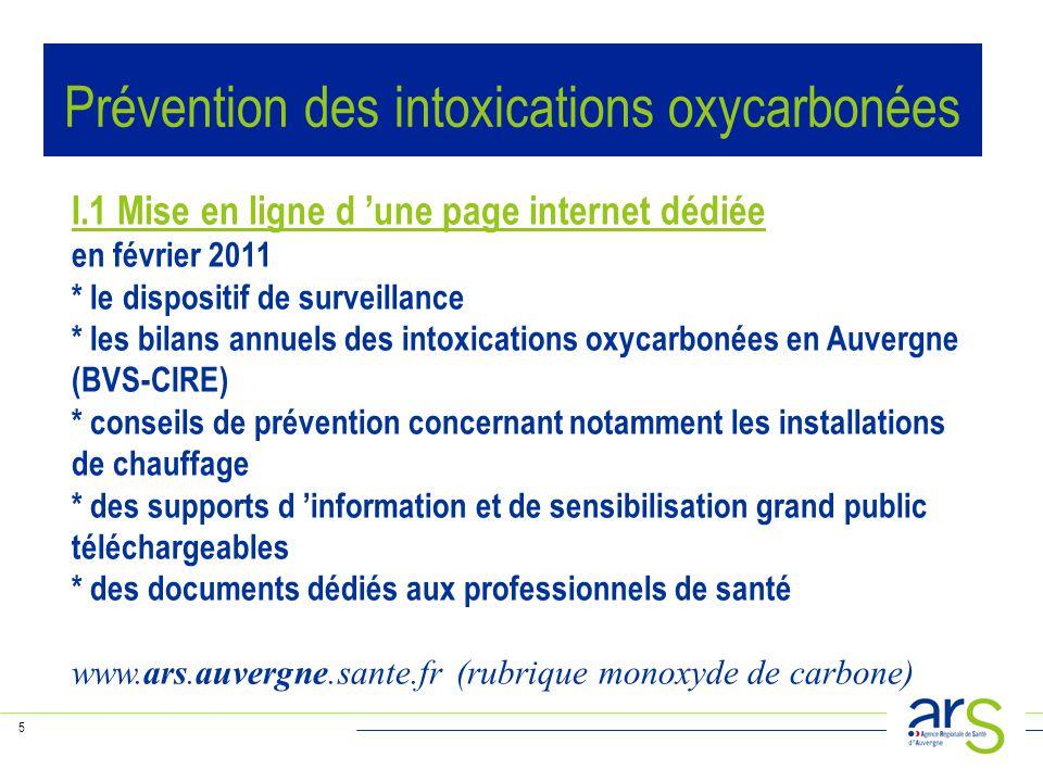 5 I.1 Mise en ligne d 'une page internet dédiée en février 2011 * le dispositif de surveillance * les bilans annuels des intoxications oxycarbonées en