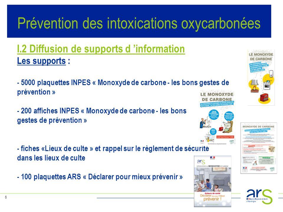6 I.2 Diffusion de supports d 'information Les supports : - 5000 plaquettes INPES « Monoxyde de carbone - les bons gestes de prévention » - 200 affich