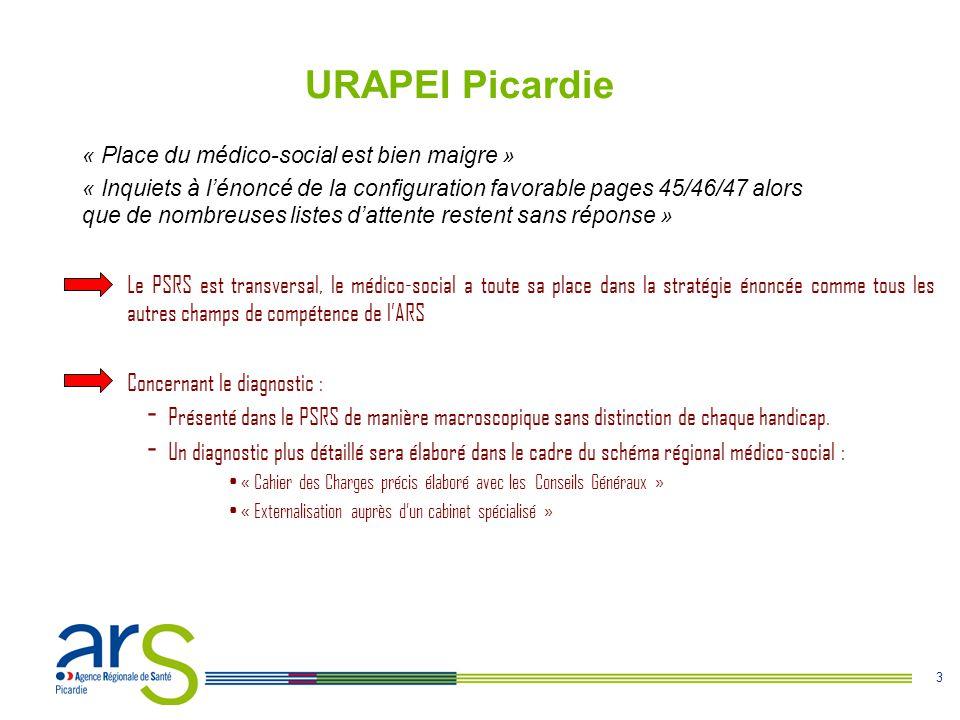 3 URAPEI Picardie Le PSRS est transversal, le médico-social a toute sa place dans la stratégie énoncée comme tous les autres champs de compétence de l'ARS Concernant le diagnostic : - Présenté dans le PSRS de manière macroscopique sans distinction de chaque handicap.