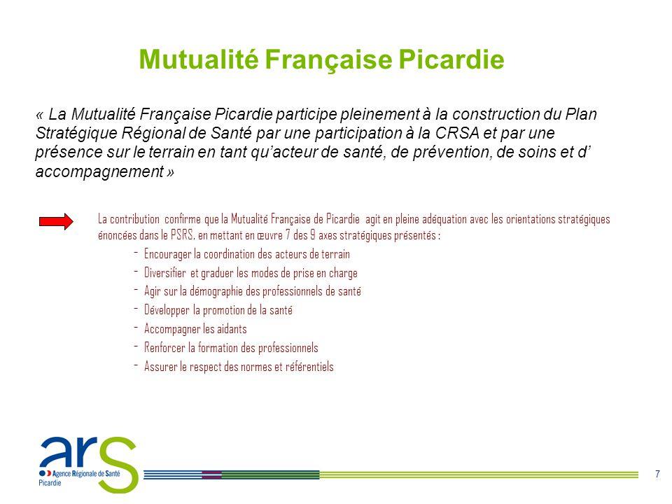 7 Mutualité Française Picardie La contribution confirme que la Mutualité Française de Picardie agit en pleine adéquation avec les orientations stratégiques énoncées dans le PSRS, en mettant en œuvre 7 des 9 axes stratégiques présentés : - Encourager la coordination des acteurs de terrain - Diversifier et graduer les modes de prise en charge - Agir sur la démographie des professionnels de santé - Développer la promotion de la santé - Accompagner les aidants - Renforcer la formation des professionnels - Assurer le respect des normes et référentiels « La Mutualité Française Picardie participe pleinement à la construction du Plan Stratégique Régional de Santé par une participation à la CRSA et par une présence sur le terrain en tant qu'acteur de santé, de prévention, de soins et d' accompagnement »