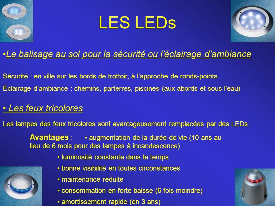LES LEDs Le balisage au sol pour la sécurité ou l'éclairage d'ambiance Sécurité : en ville sur les bords de trottoir, à l'approche de ronds-points Écl