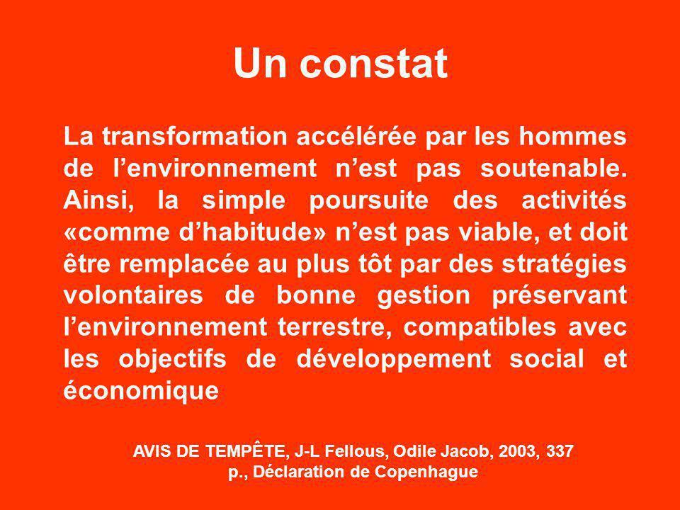 La transformation accélérée par les hommes de l'environnement n'est pas soutenable.