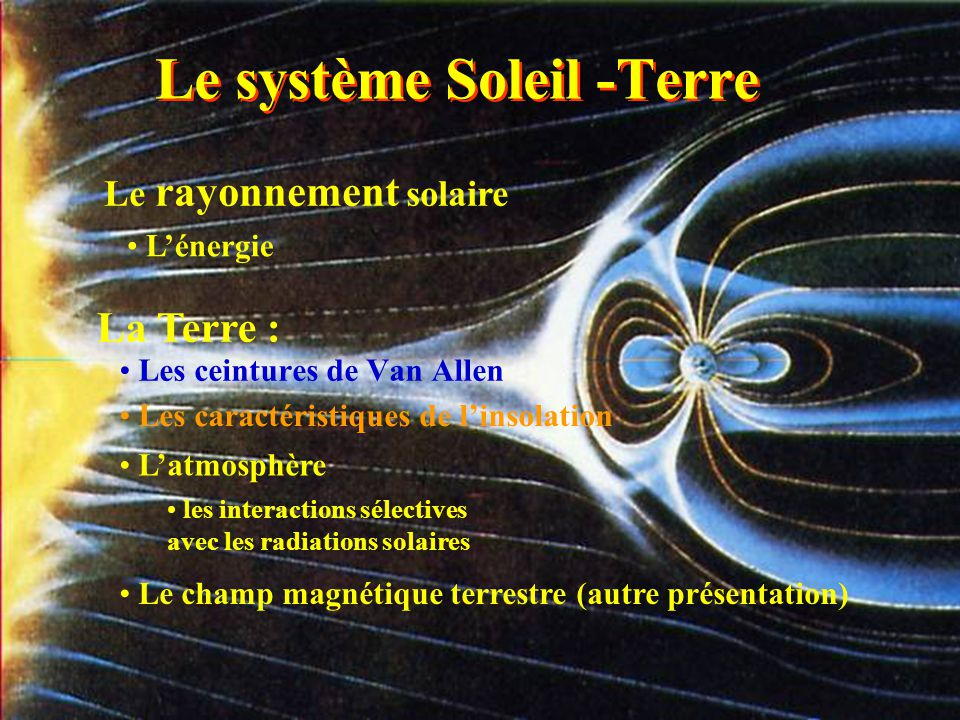 Les 3 ceintures de Van Allen atomes lourds cosmiques ionisés (nouvelle) électrons solaires protons solaires lignes du champ magnétique