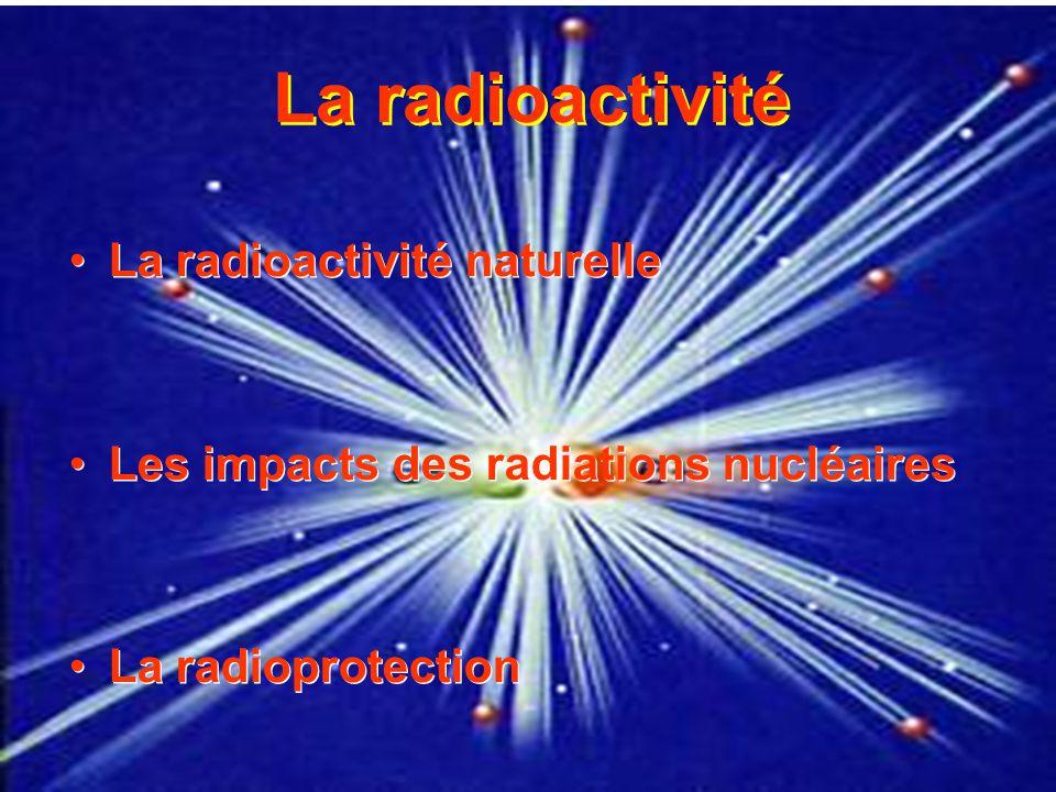 La radioactivité La radioactivité naturelle Les impacts des radiations nucléaires La radioprotection La radioactivité naturelle Les impacts des radiat