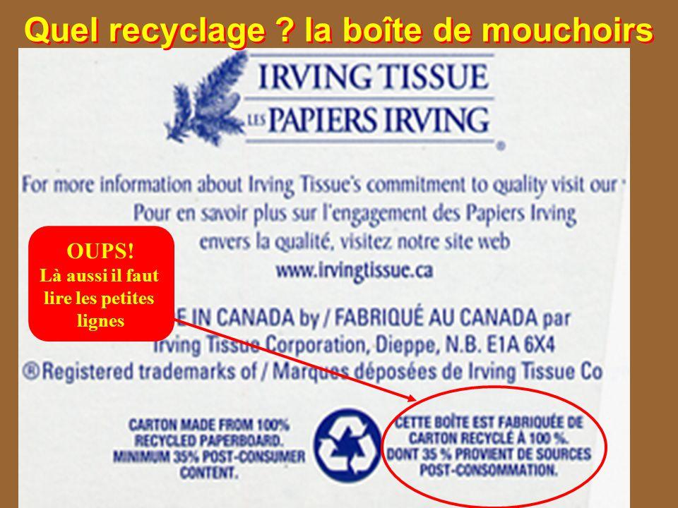 Quel recyclage ? la boîte de mouchoirs OUPS! Là aussi il faut lire les petites lignes
