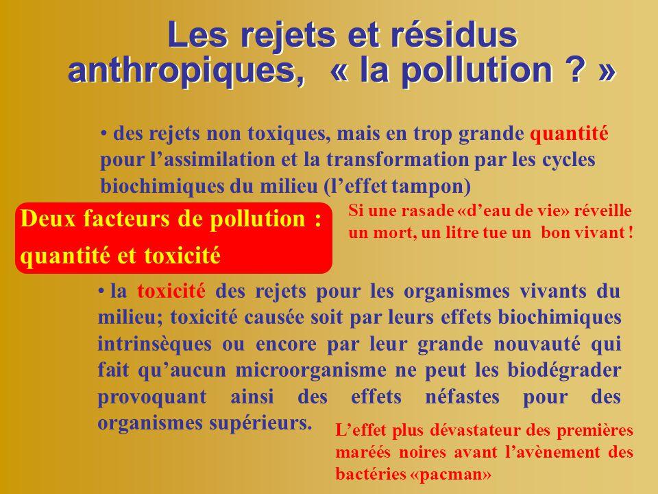 Les rejets et résidus anthropiques, « la pollution ? » Deux facteurs de pollution : quantité et toxicité des rejets non toxiques, mais en trop grande