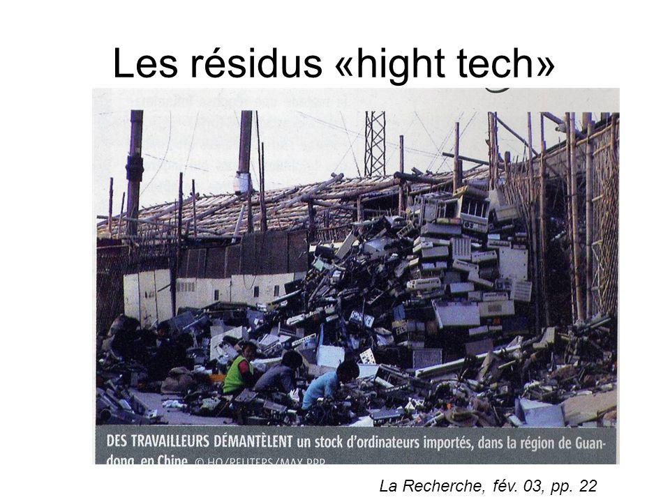Les résidus «hight tech» La Recherche, fév. 03, pp. 22