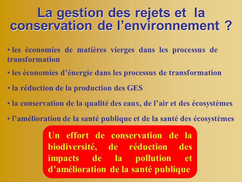 La gestion des rejets et la conservation de l'environnement ? les économies de matières vierges dans les processus de transformation les économies d'é