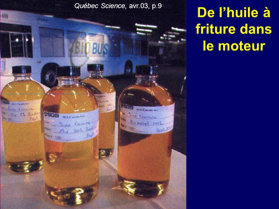 De l'huile à friture dans le moteur Québec Science, avr.03, p.9
