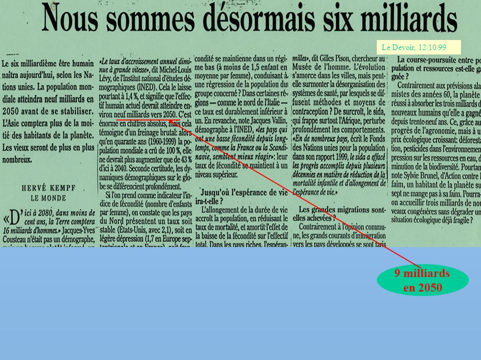 Le Devoir, 12/10/99 9 milliards en 2050