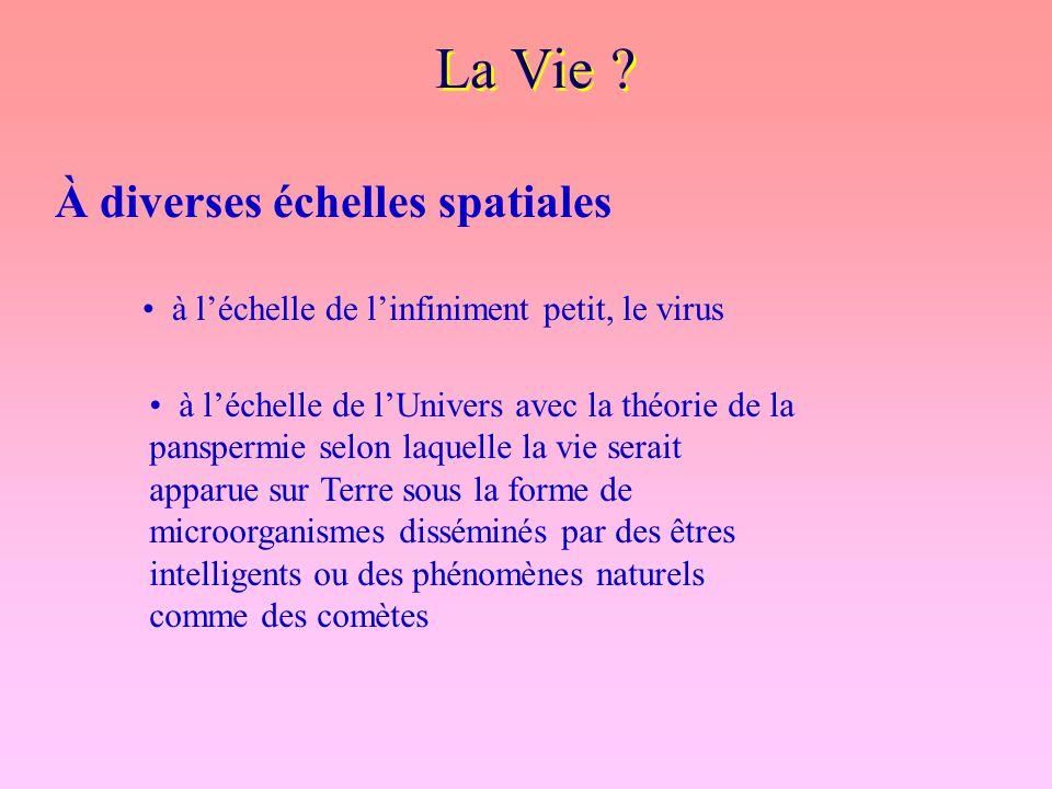 La Vie ? À diverses échelles spatiales à l'échelle de l'infiniment petit, le virus à l'échelle de l'Univers avec la théorie de la panspermie selon laq