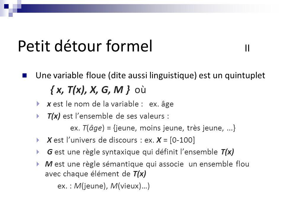 Une variable floue (dite aussi linguistique) est un quintuplet { x, T(x), X, G, M } où  x est le nom de la variable : ex.